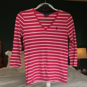 Pink and white striped Ralph Lauren shit